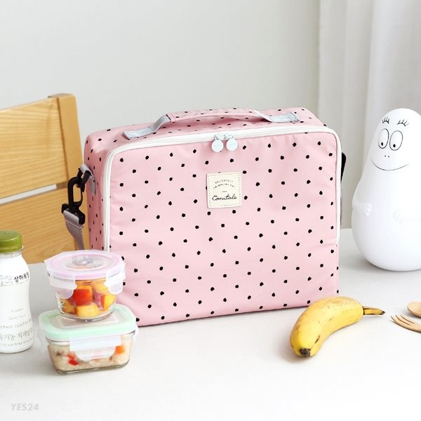 코니테일 큐브 쿨러백 - 핑크도트 (이유식 보냉가방 런치백)
