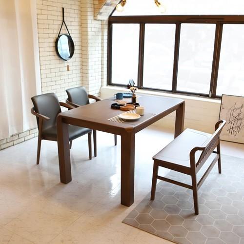 라센 바레도 월넛 원목 4인 식탁 세트(벤치,의자2개)