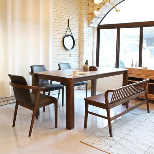 라센 바레도 월넛 원목 6인 식탁 세트(벤치,의자3개)