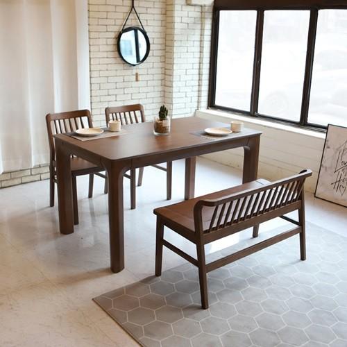 라센 사라 월넛 원목 4인 식탁 세트(벤치,의자2개)