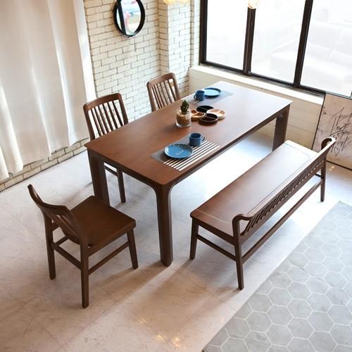 라센 사라 월넛 원목 6인 식탁 세트(벤치,의자3개)