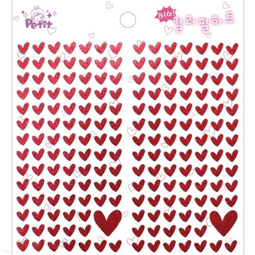 [쁘띠팬시]♥컬러 펄하트 스티커(골드,레드)♥