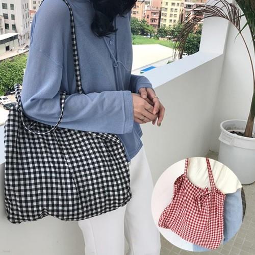 비올라 여성 체크무늬 에코백 데일리 캔버스백 숄더백