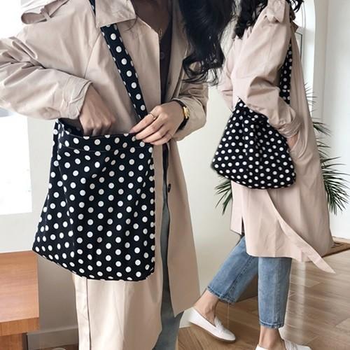 땡땡이 여성 에코백 데일리 캔버스백 숄더백 천가방