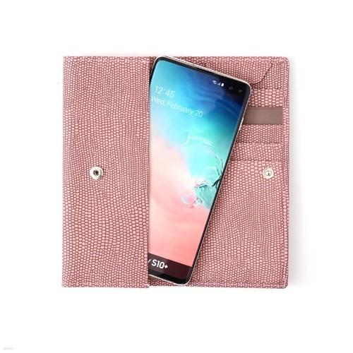 갤럭시S10 플러스 리자드 소가죽 지갑케이스(16.8cm,핑크)P86195