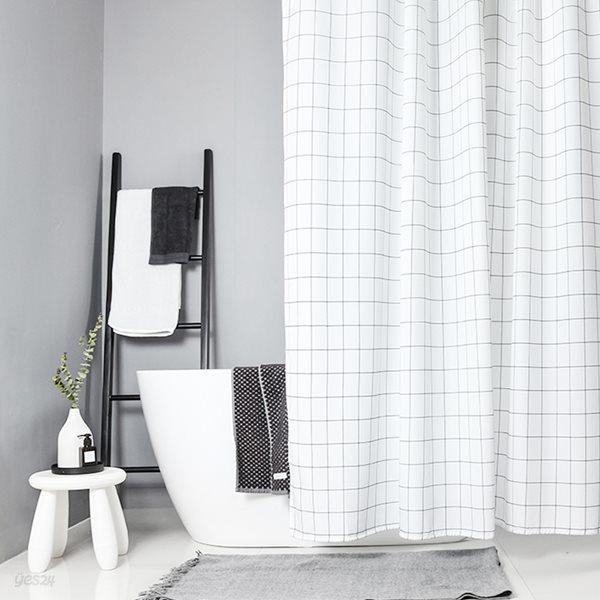 패브릭 욕실 샤워커튼 화이트체크 120x180