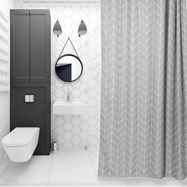 패브릭 욕실 샤워커튼 그레이헤링본 180x180