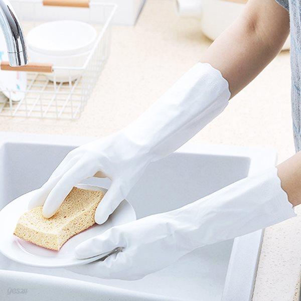 화이트 주방 고무 장갑 ( 설거지 )