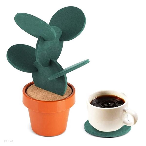 선인장 화분 컵받침 티코스터