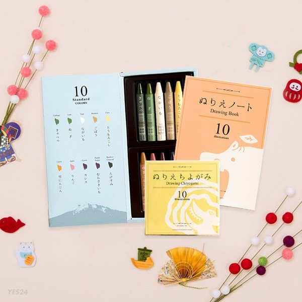 미즈이로 야채크레용 세트(크레용+드로잉북+색종이)