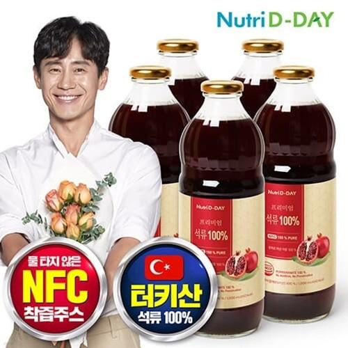 뉴트리디데이 NFC 프리미엄 100% 석류 원액 1000ml x 5병