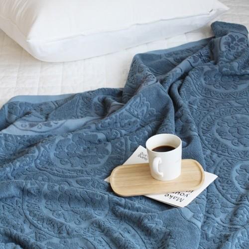 북유럽 패턴 타월이불150X200-블루