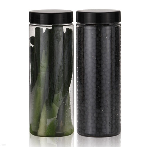 냉장고 원형(블랙) 보관용기(대) 2개+스티커 32종