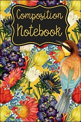 Bird and Flowers Composition Notebook