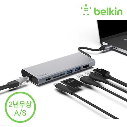 벨킨 F4U092bt USB C타입 멀티미디어 허브 도킹스테이션 / HDMI 프로젝터 SD 변환 독