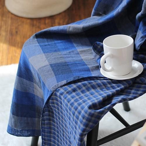 모던체크 면거즈 블랭킷 90x140-블루