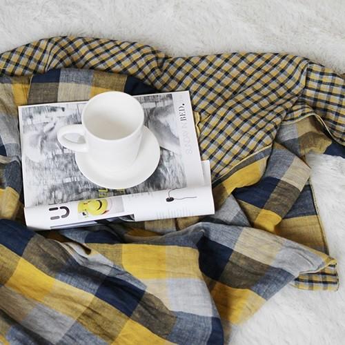 모던체크 면거즈 블랭킷 90x140-옐로우