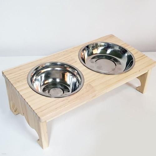 원목 애견식탁(왕관) 2구 강아지 고양이 밥그릇 ...