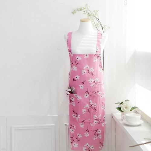 하얀꽃 핑크롱앞치마