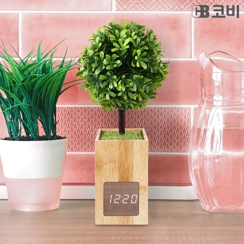 코비 LED 무소음 밝기조정 터치센서 대나무 인테리어 알람 시계 BL60
