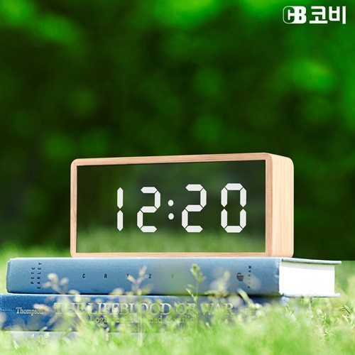 코비 밝기 조정 대나무 무소음 LED 거울 인테리어 선물용 알람시계 BL20