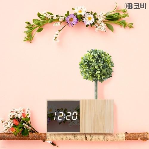 코비 사운드 터치 인테리어 무소음 LED 대나무 알람 시계 BL70