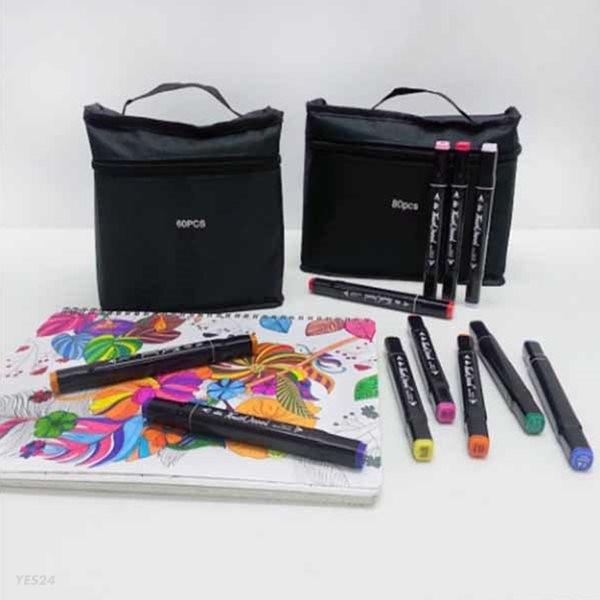 터치 마카펜 60색 80색 세트 디자인마카 트윈싸인펜 (가방,스토리지 사은품)