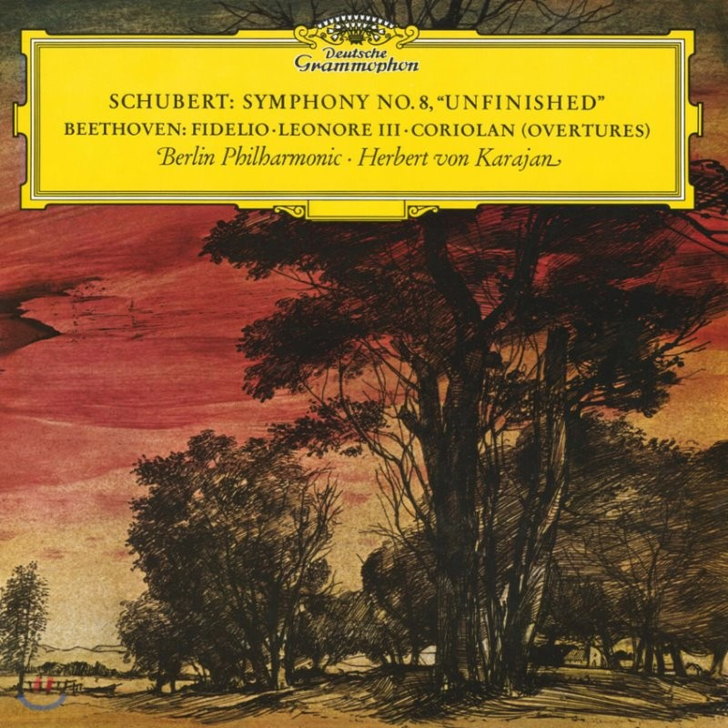 Herbert von Karajan 슈베르트: 미완성 교향곡 / 베토벤: 피델리오, 레오노레, 코리올란 서곡 - 카라얀 [LP]