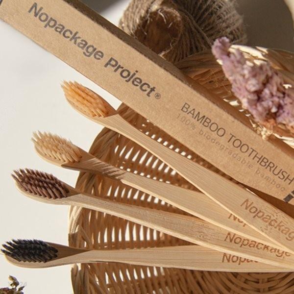 [NPE 정품 컬러 대나무 칫솔] 부드러운 미세모 밤부 나무 우드 천연 생분해 제로웨이스트 치솔