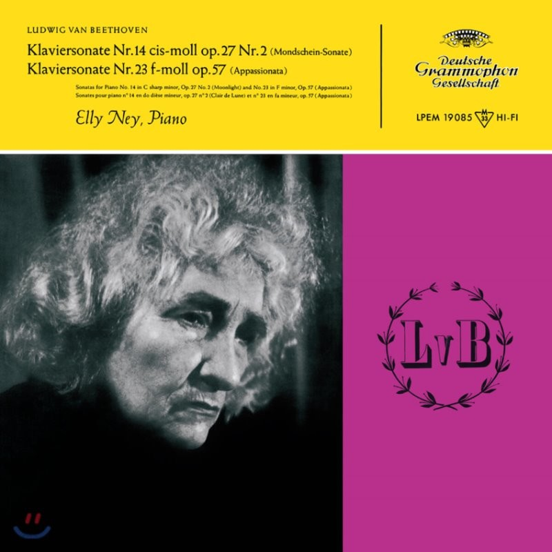 Elly Ney 베토벤: 피아노 소나타 14번 `월광`, 23번 `열정`, 8번 `비창`, 31번 - 엘리 나이 [2LP]