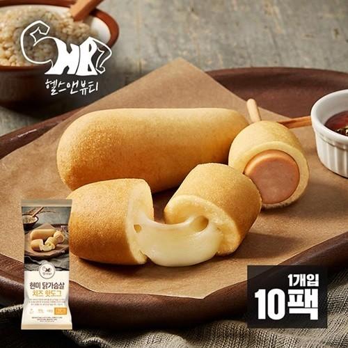 [헬스앤뷰티] 현미 닭가슴살 치즈핫도그 10팩