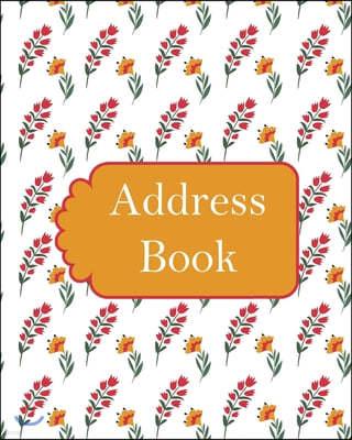 Address Book: Red Floral - Alphabetical order -Journal - Email - Address Book
