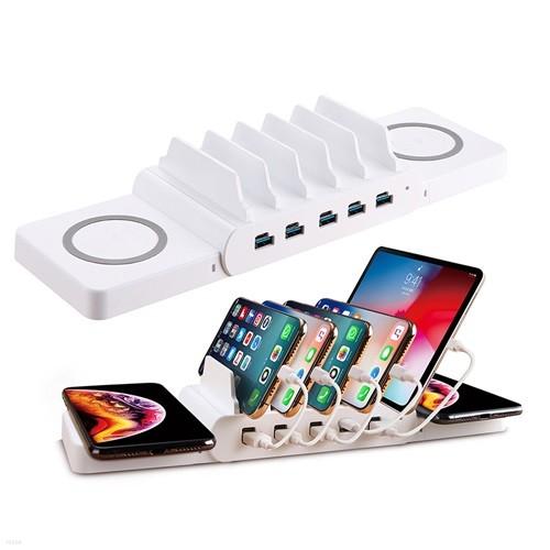 PPS 고속 무선 멀티 충전기 C타입 10포트 아이폰11 갤럭시 노트10 맥북16 삼성 갤럭시북 플렉스 이온