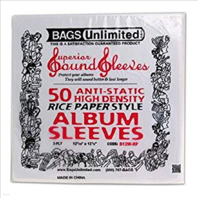 "Bags Unlimited - S12W-RP 50 PK ""Rice-Paper""Poly Sleeve (LP커버)"