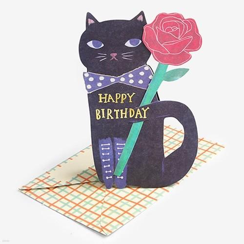 꽃을 든 고양이 블랙 입체 스탠딩 카드