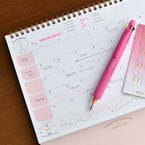 Color Days Calendar (프레스 라인이 있는 만년 ...