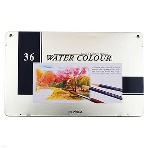 문화 수채 색연필 36색 틴케이스 일반용 전문가...