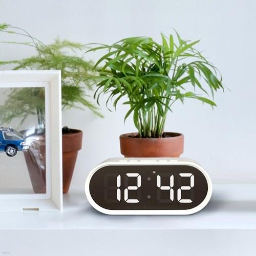 LED 알람 탁상 시계 온도 습도 미러클락 + 충전기