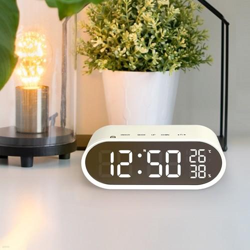 LED 거울탁상 시계 온도 습도 미러클락 + 충전기