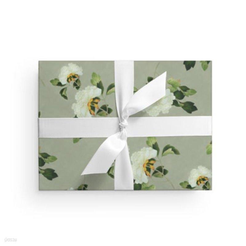 전통민화 흰꽃 포장지 (2장)