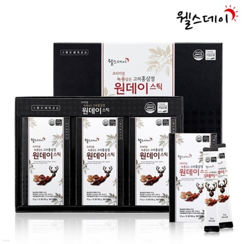 [웰스데이] 프리미엄 녹용담은 고려홍삼정 원데이스틱 (10g*30포)