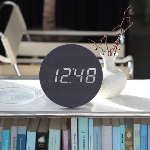 무소음 LED 우드 탁상 벽걸이 디지털 알람 시계 AL90  날짜 온도 터치센서