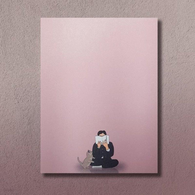 동주를 방해하는 고양이 베이비 핑크 떡 메모지