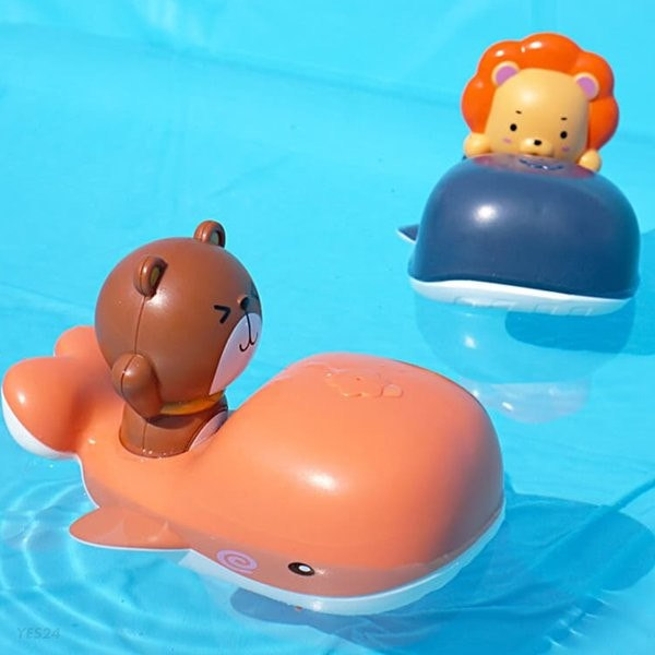 레츠토이 테디 라이언 수륙양용 고래보트 유아 목욕놀이 물놀이 장난감 물총