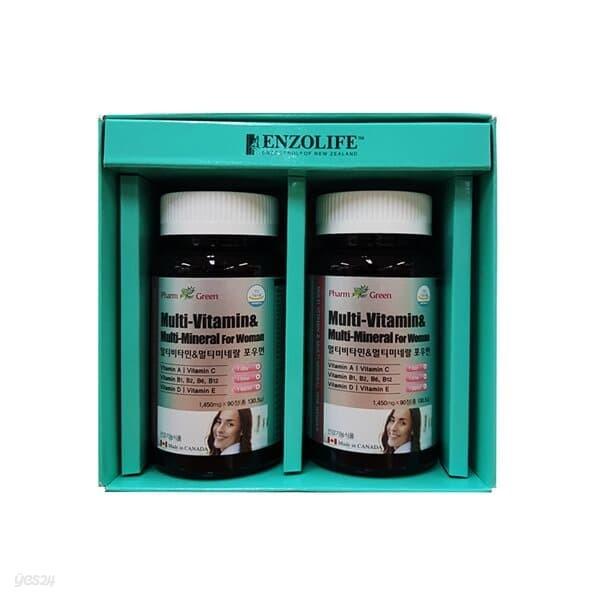 팜그린 멀티비타민&미네랄 포우먼 2종 선물세트(백화점 선물포장+쇼핑백포함)