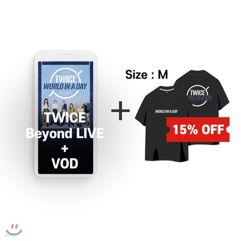 TWICE Beyond LIVE +VOD관람권 + 티셔츠 (BLACK, M)