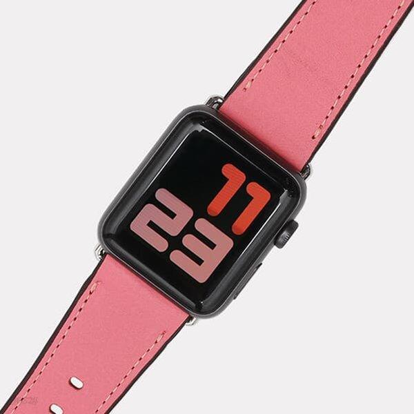 [출시할인40%이벤트]애플 워치 통가죽 스트랩 밴드(핑크)WC97313.APPLE WATCH 1,2,3,4,5 호환
