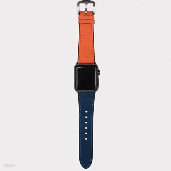 [출시할인40%이벤트]애플 워치 통가죽 콤비 스트랩 밴드(청록+오렌지)WC97319.APPLE WATCH 1,2,3,4,5 호환