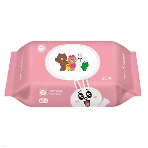 깨끗한나라)라인프렌즈물티슈(60매/캡형)박스(24개입)