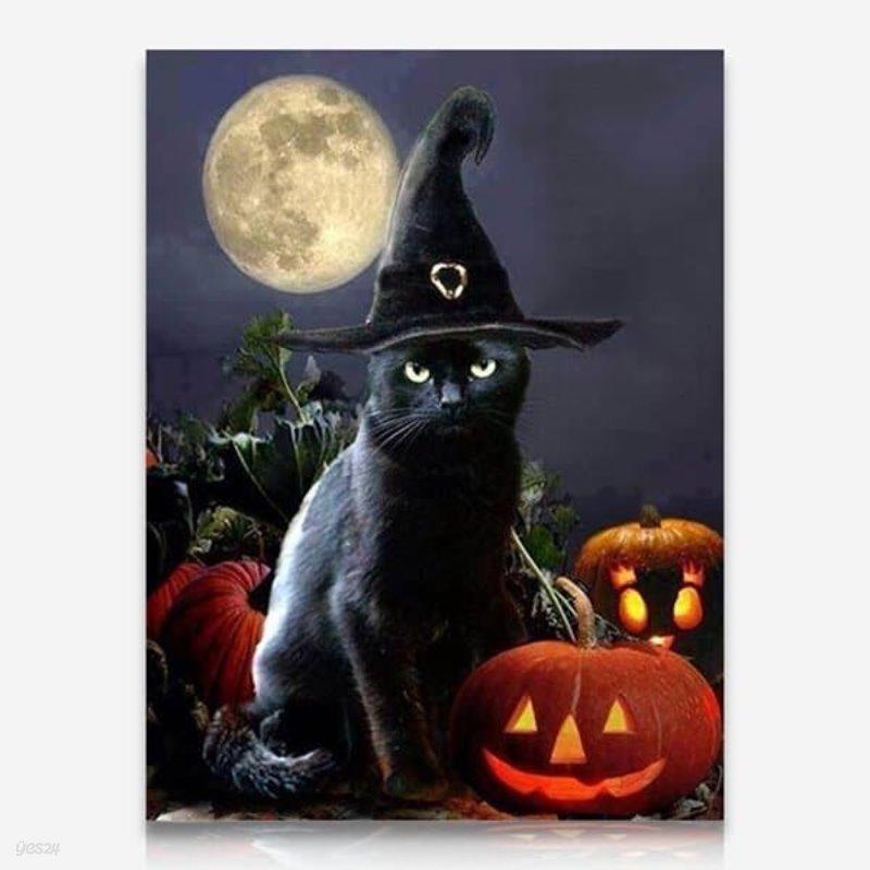 할로윈 검은 고양이 DIY 보석십자수 십자수 비즈세트